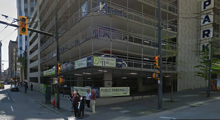 Cheap monthly downtown Vancouver parking at 320 Granville Street