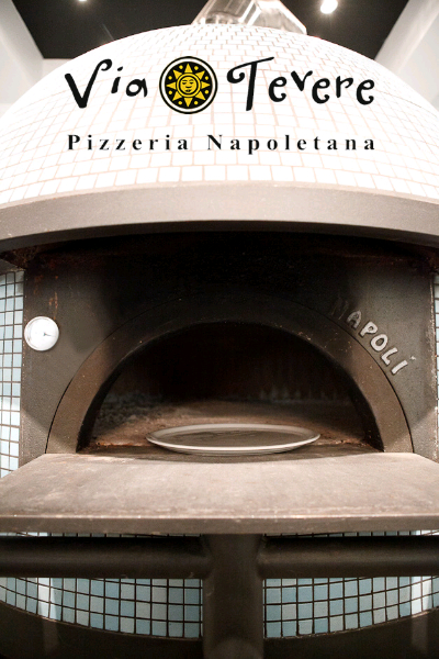 Wood stone oven at Via Tevere Pizzeria in Vancouver, BC
